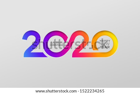 Happy new year 2020 elegant card in paper style for your seasonal holidays banners. Flyers, christmas themed congratulations, greetings, invitations. Vector illustration. Isolated on white background.