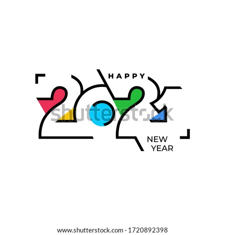 Happy New Year elegant design of colored 2021 logo numbers. Typography for 2021 save the date luxury designs and new year celebration invite. Vector illustration. Isolated on white background.