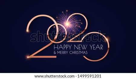 Happy new 2020 year! Elegant gold text with light. Minimalistic template.