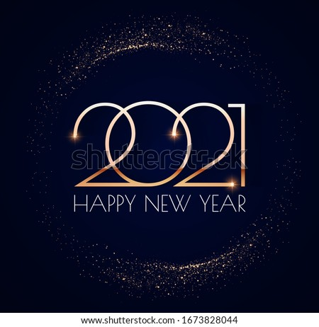 Happy new 2021 year! Elegant gold text with light. Minimalistic text