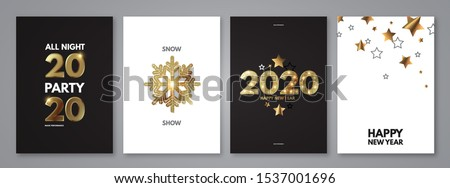 Happy New 2020 Year! Elegant poster template set with gold shining year number, confetti and snowflakes.