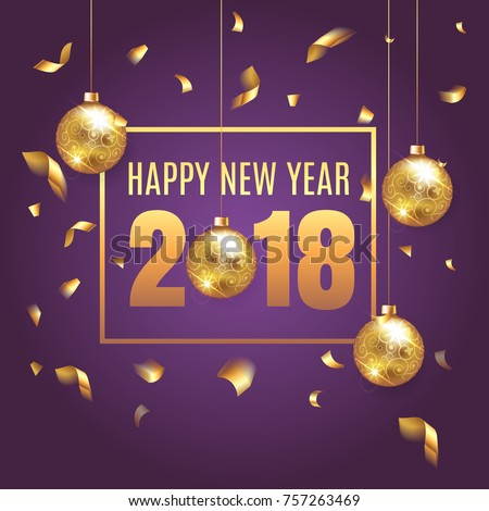 Happy New Year 2018 elegant purple background template with gold Christmas balls and  confetti with a sparkle,  text and shining lights. Rich, VIP, luxury Gold and purple colors. Vector illustration.