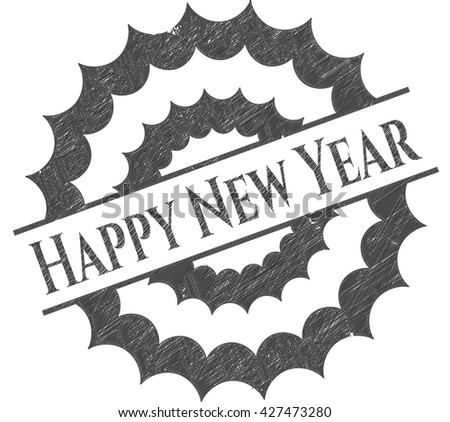 Happy New Year emblem draw with pencil effect