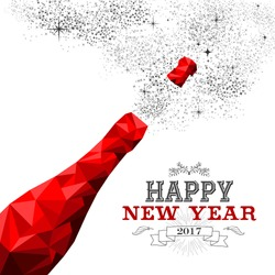 Happy New Year 2017 fancy red champagne bottle in hipster triangle low poly style. Ideal for greeting card or elegant holiday party invitation. EPS10 vector.