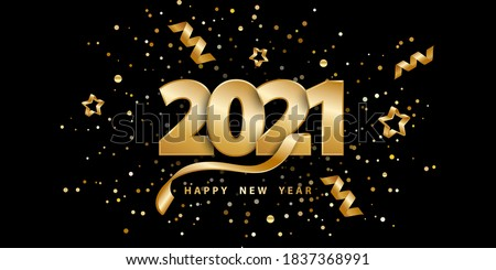 Happy new year 2021. Festive black background with golden numbers, confetti, stars and streamer ribbons. Vector illustration 3D. Holiday banner realistic style. Luxury design poster, cover, wallpaper. Photo stock ©