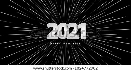 Happy new year 2021. Festive black background with silver numbers and motion rays of light. realistic style speed light ray background. Vector illustration 3D. Holiday banner. Design banner, cover, wallpaper. Photo stock ©
