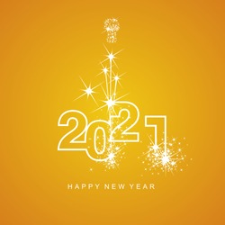 Happy New Year 2021 firework white line design numbers orange yellow background