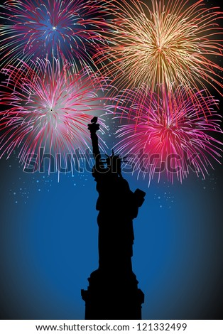 Happy New Year fireworks New York city with Liberty statue silhouette night scene. EPS10 vector with transparencies layered for easy manipulation and customization.