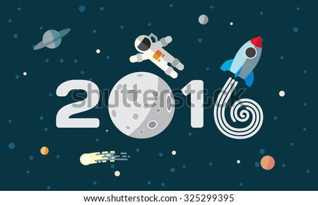 happy new year flat space