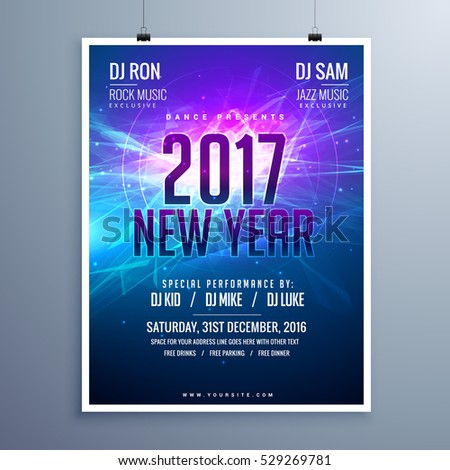 happy new year 2017 flyer layout template with abstract glowing background