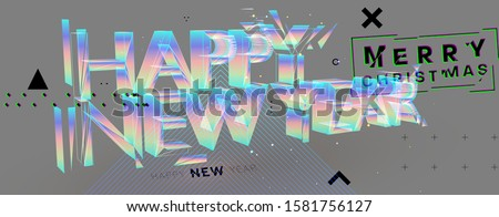 Happy New Year for holiday concept modern design with geometric 3d elements and 80s memphis bright style. Christmas techno party art with abstract shapes. Vector illustration