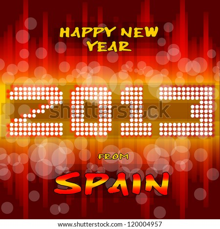 Happy New Year 2013 from Spain Happy new year's eve with a multicolored background, bright text like little light ball and the colors of the spanish flag, yellow and red. Spain.