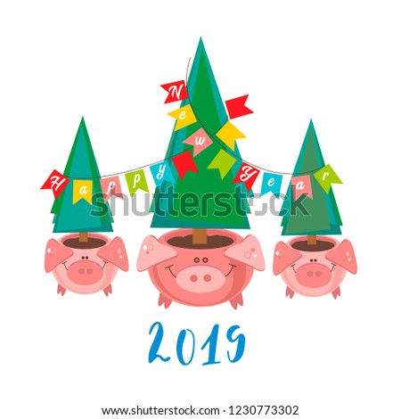 Happy New Year. 2019. Funny pig pots with Christmas trees. Vector illustration #1230773302