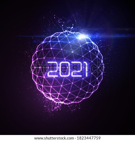 Happy New 2021 Year. Futuristic glowing neon light sphere with bursting light rays. Vector holiday illustration. Festive New Year 2020 party sign. Decoration element for design