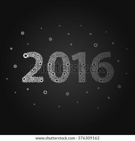 Happy new year 2016. Gear design #376309162