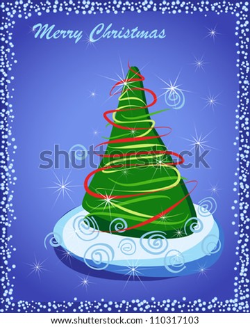 Happy New Year. Gift card with Christmas tree in snow on blue. Vector eps10 illustration. Raster file included in portfolio