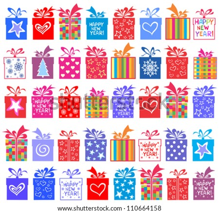 Happy New Year! Gift set. Gift boxes with bow and ribbon isolated on White background. Vector illustration