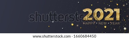 Happy New Year 2021. Glittering golden dust and pearls on black background. Creative design of lettering for greeting cards. Golden letters with gleam glow effect. Festive vector illustration EPS10
