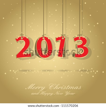 Happy New Year 2013 Gold And Red Greeting Card, All Elements Are In Separate Layers And Grouped, EPS 10.
