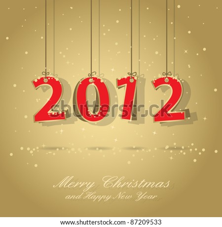 happy new year 2012 gold and red greeting card, elements are in separate layers and grouped, easy to edit, eps 10