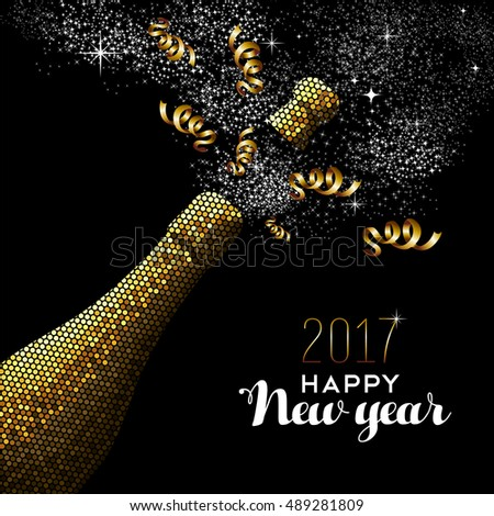 Happy new year 2017 gold champagne bottle celebration in mosaic style. Ideal for holiday card or elegant party invitation. EPS10 vector.