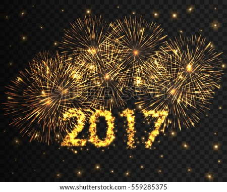 Happy New Year 2017 gold firework background. Greeting card with particle. Yellow invitation overlay template. Vector illustration eps10