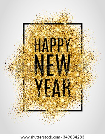 happy new year gold glitter
