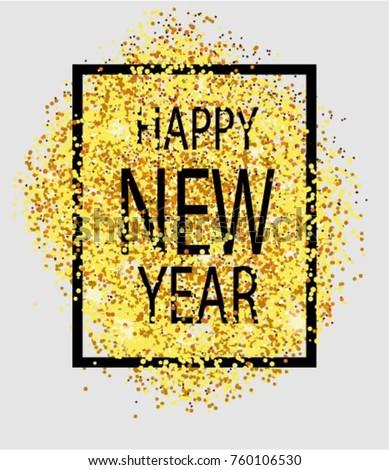 happy new year gold glitter