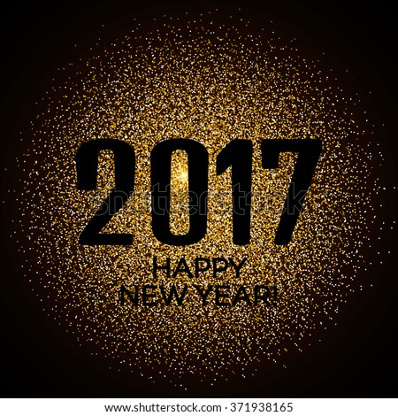 Happy New Year 2017 gold glitter new year background for banner flyer, poster, sign, web, header. Abstract glowing golden blur snow vector background for text, type, quote. #371938165