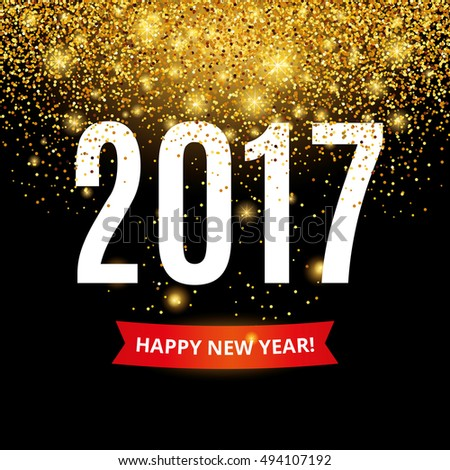 Happy new year. Gold glitter New Year. Gold background for flyer, poster. Sign symbol. Banner, web, header. Abstract golden background for text. Type quote. Golden blur backdrop.  #494107192