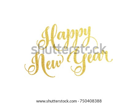 Happy New Year gold lettering text for greeting card. Holiday luxury golden design on white background. Vector illustration
