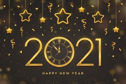 Happy New 2021 Year. Gold metallic numbers 2021 and watch with Roman numeral and countdown midnight, eve for New Year. Hanging golden stars on dark background. Holiday decoration. Vector illustration.