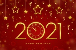 Happy New 2021 Year. Gold metallic numbers 2021 and watch with Roman numeral and countdown midnight, eve for New Year. Hanging golden stars on red background. Holiday decoration. Vector illustration.