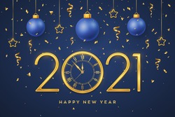 Happy New 2021 Year. Gold metallic numbers 2021 and watch with Roman numeral and countdown midnight. Hanging golden stars and balls on blue background. Holiday decoration. Vector illustration.