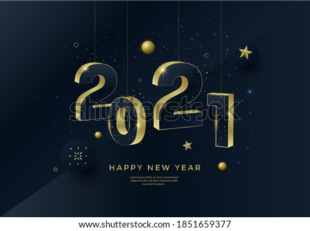 Happy New Year 2021 gold numbers typography greeting card design on dark background. Merry Christmas invitation poster with golden decoration elements.