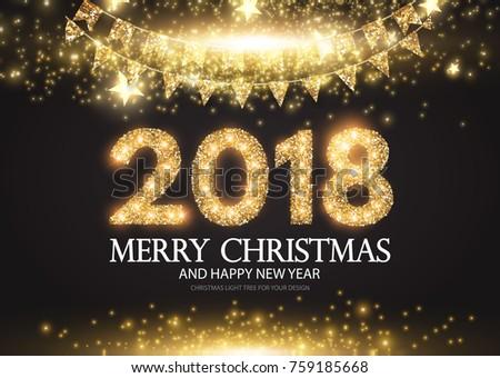 Happy New 2018 Year! Gold Shining Design. Vector illustration