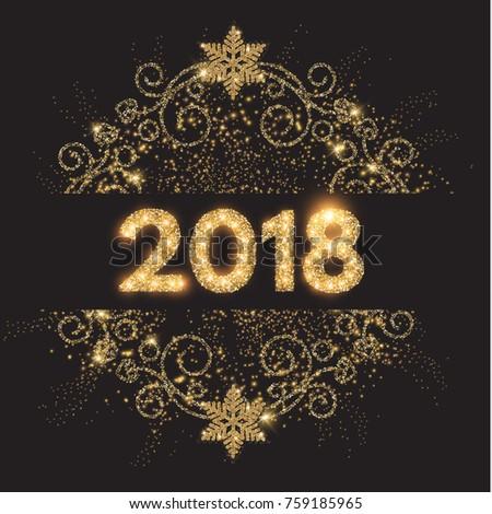 Happy New 2018 Year! Gold Shining Vintage Vignette Design. Vector illustration