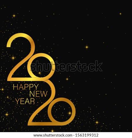 Happy 2020 new year golden banner. Vector template design