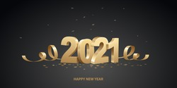 Happy New Year 2021. Golden 3D numbers with ribbons and confetti on a black background.