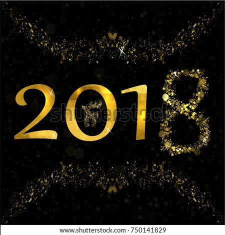 Happy New Year. Golden Elegant Card Template #750141829