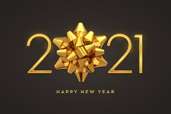Happy New 2021 Year. Golden metallic luxury numbers 2021 with golden gift bow. Realistic sign for greeting card. Festive poster or holiday banner design. Vector illustration.