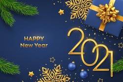 Happy New 2021 Year. Golden metallic numbers 2021 with gift box, shining snowflake, pine branches, stars, balls and confetti on blue background. New Year greeting card or banner template. Vector.