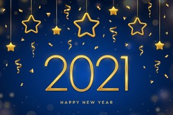 Happy New 2021 Year. Golden metallic numbers 2021 with shimmering hanging golden stars on blue background. New Year greeting card, cover or banner template. Holiday decoration. Vector illustration.