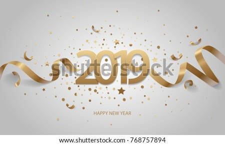 Happy New Year 2019. Golden numbers with ribbons and confetti on a white background.