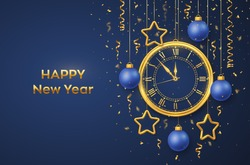 Happy New Year 2021. Golden shiny watch with Roman numeral and countdown midnight, eve for New Year. Background with shining gold stars and balls. Merry Christmas. Xmas holiday. Vector illustration.