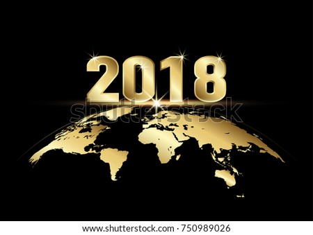 happy new year 2018 golden text with earth on black background vector illustration