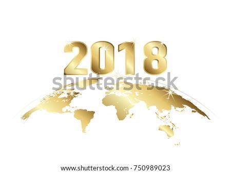 happy new year 2018 golden