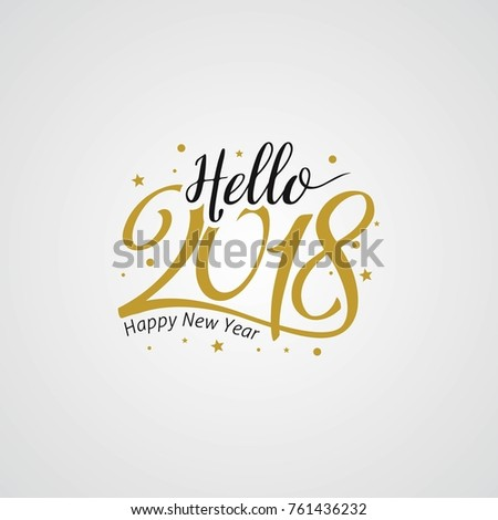 Happy New Year 2018 golden typography on white background. Greeting card design with hand lettering inscription for winter holidays. Vector Illustration