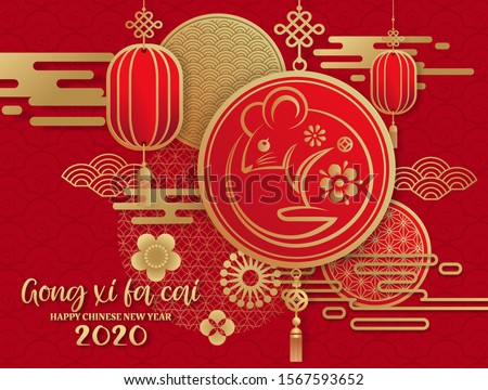 happy new year2020  Gong Xi Fa Cai ,Year of the rat,Chinese new year greetings with gold rat zodiac sign paper cut art and craft style