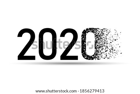 Happy New Year. Good Bye 2020, Welcome 2021, 2020 typography with dispersion effect.
